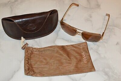 3859f67481e91 Fossil WHITMAN Polarized Bold Brown Lens Men s Aviator Sunglasses W Dust  Bag • 24.99