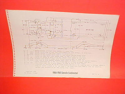 $12.99 • Buy 1964 1965 Lincoln Continental Convertible Sedan Hardtop Frame Dimension Chart