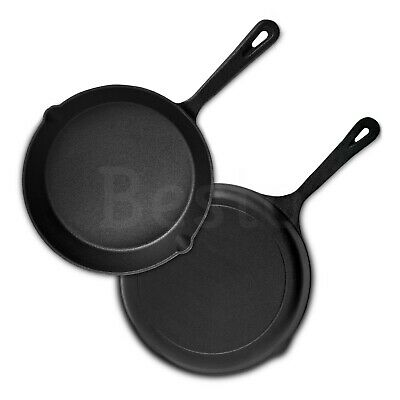 Cast Iron Skillet Frying Pan Pre-Seasoned Griddle Cookware Barbecue Black Grill  • 14.39£