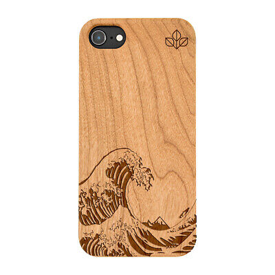 £9.99 • Buy Kanagawa Wave Natural Carved Wooden Phone Case For IPHONE SAMSUNG HUAWEI PIXEL