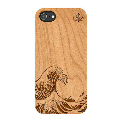 Kanagawa Wave Natural Carved Wooden Phone Case For IPHONE SAMSUNG HUAWEI PIXEL • 12.99£