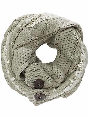 £21.24 • Buy Cable Knit Scarf Neck Wrap With Lace & Button Trim
