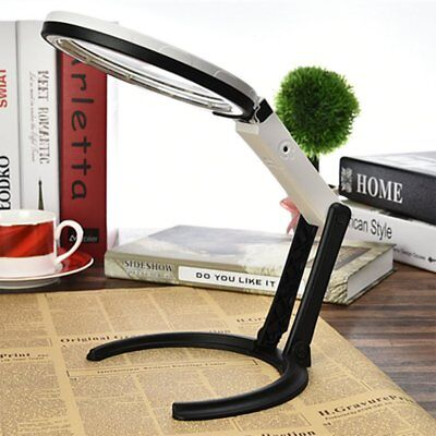Large Magnifying Glass LED Light Magnifier Foldable Stand Desk + UK Plug Adapter • 9.96£