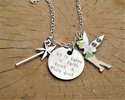 £3.99 • Buy All It Takes Is Faith Trust & Pixie Dust Tinkerbell Fairy Quote Charm Necklace