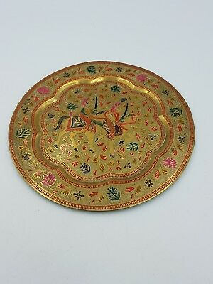 Vintage Indian Brass Enamel Decorative Plate Ornate Warriors On Horses Scene • 15.99£