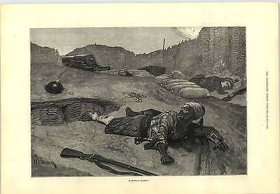1877 Caton Woodville Unexploded Shell Critical Moment Engraving • 8£