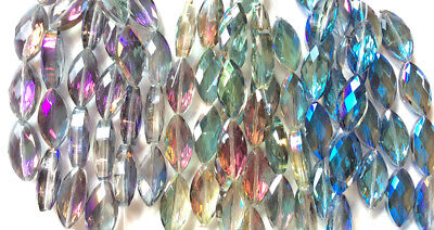 £5.77 • Buy Crystal Navette Marquis Large 25x12mm Chinese Crystal Glass Beads Q2 Strands