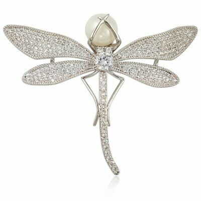 £18.11 • Buy Classic Modern Crystal Pearl Dragonfly Brooch Pin Made With Swarovski Element