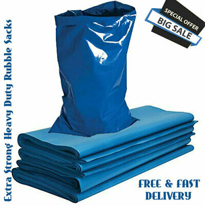 £14.99 • Buy 500 Gauge BLUE Extra Strong Heavy Duty Rubble Sacks High Strength Bags Builders