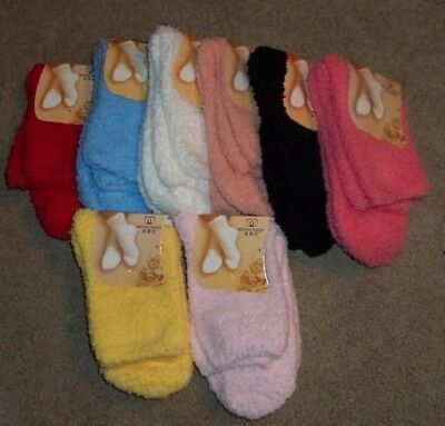 $1.99 • Buy NEW Women's Super Soft Fuzzy Fluffy Slipper Socks Sz 9-11 NEW 8 Solid Colors