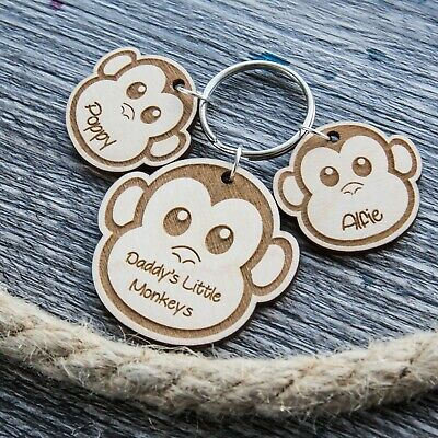 PERSONALISED FATHERS DAY GIFT WOODEN KEYRING GIFTS For DAD DADDY GRANDAD MONKEY • 5.49£