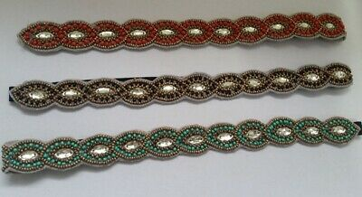 $ CDN7.58 • Buy LOT Of 3 Turquoise Red Black Gold Beaded Headbands Hair Accessories U4-8/22