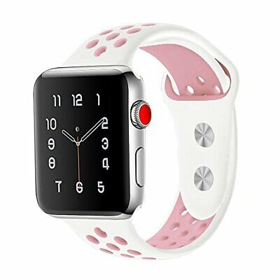 $ CDN10.03 • Buy OULUOQI Apple Watch Band 38mm Soft Silicone Series 3/2/1 Sport Rose/White
