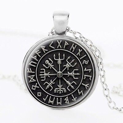 Nordic Viking Wicca Pagan Rune Glass Cabachon Pendant Necklace On Silver Chain  • 2.99£