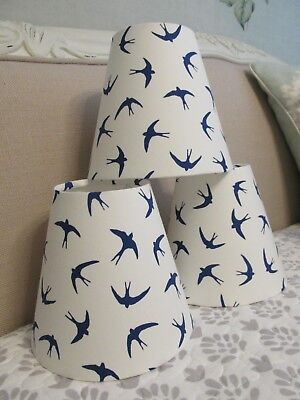 £20 • Buy Handmade Candle Clip Lampshade Sea Bird / Swallow Blue And White Cotton Fabric