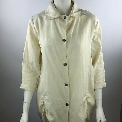 $49.99 • Buy ITEMZ CHRIS BAUMGARTNER Yellow Linen Ruched 3/4 Sleeve Button Up Blouse Top OS