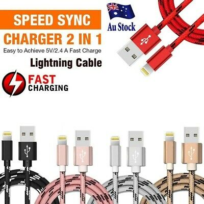 AU3.99 • Buy Braided USB Lightning Cable Cord Data For Apple Charger IPhone IPad 6 X 8 7 5 SE