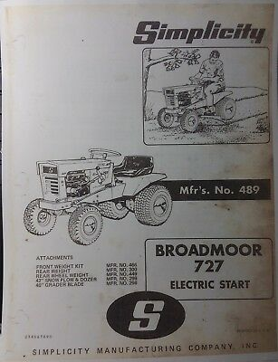 AU75.52 • Buy Simplicity 727 Broadmoor Lawn Tractor & Implements Owner & Parts Manual Allis