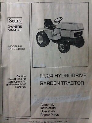 AU239 • Buy Sears FF/24 Garden Tractor & Implements Owner, Parts & Service Manual (9 Manuals