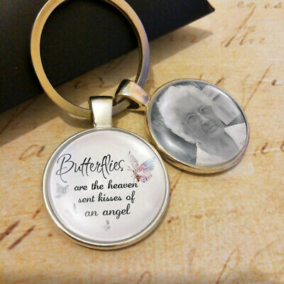 Personalized Bereavement  Photo Memorial Gifts Keyring Butterfly Heaven Angel • 6.38£