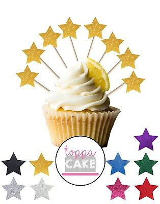£2.99 • Buy 18 Glitter STAR Party Decoration Cupcake Pick Toppers Birthday Food Cake Flags