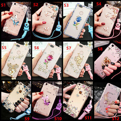 AU9.01 • Buy Glitter Jewelled Bling Crystal Diamonds Soft Gel Phone Back Case Cover & Strap P