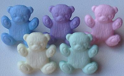 Teddy Bear Buttons Children's Crafts 16x14mm Baby Colours Pack Sizes 6/12/25/50 • 0.99£