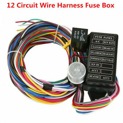 $ CDN72.65 • Buy 12 Circuit Wiring Harness Fuse Box Street Hot Rat Rod 12V Universal Car Truck RV