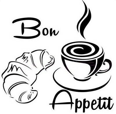 £9.42 • Buy Coffee Wall Kitchen Art Stickers Bon Appetit Cup Quotes Croissant Decal Vinyl