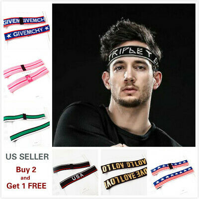 $3.59 • Buy Men Women Sports Yoga Headband Stretch Hairband Elastic Hair Band Letters Turban