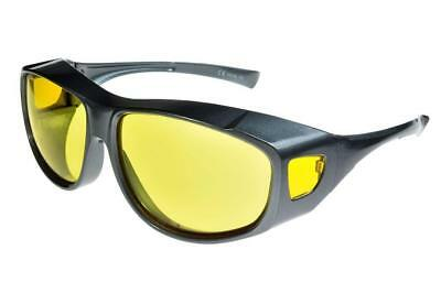 Fit Over-Glasses Grande Shatterproof Sunglasses With Yellow Lenses Large Size • 14.99£