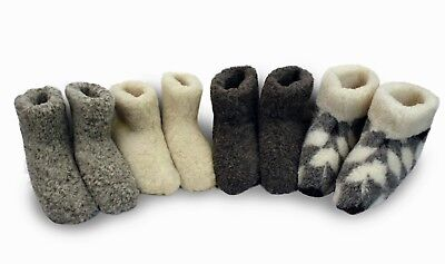 Natural Sheep Wool Boots Cozy Foot Slippers Sheepskin Womens Ladies Merino 3-16 • 14.95£