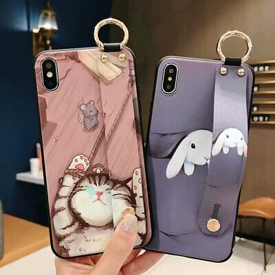 AU7.99 • Buy Soft Rabbit Cat Cover Case With Strap Stand For IPhone XS Max XR X 8 7 Plus 6S