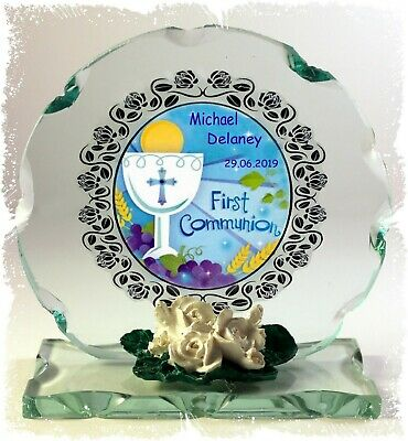 Boys 1st Holy Communion Cut Glass Plaque Catholic Personalised Gift  Present #8 • 27£