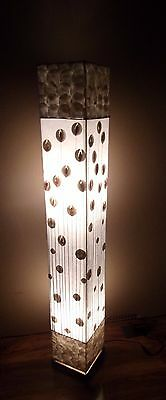 Unusual Hand Made White Flower Stem Lamp Designer Bali Shell Floor Lamp 150cm • 99.99£