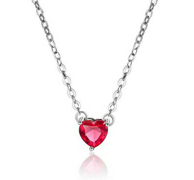 Heart Crystal Stone Pendant 925 Sterling Silver Necklace Womens Jewellery Gift • 2.97£