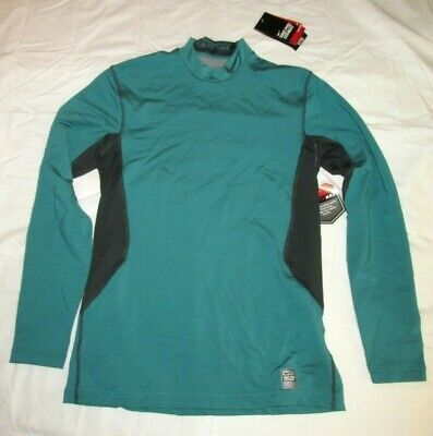 b2f880c20d Nike Pro Combat Hyperwarm Dri-FIT Mock Fitted LS Shirt Mens M Teal  Anthracite •