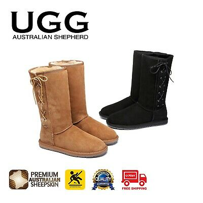 AU109 • Buy UGG Boots Tall Side Lace Up Premium Australian Double Faced Sheepskin Nonslip