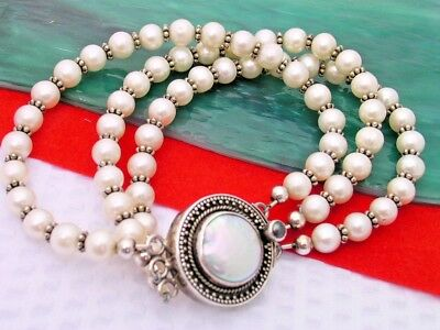 $55 • Buy Contemporary Sterling Freshwater Pearl Mabe Pearl Clasp Bracelet