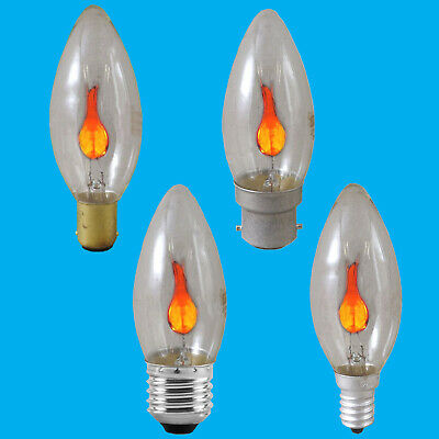 8x 3W Flicker Flame Candle Clear Light Bulb Chandelier Lamp BC ES SBC SES • 9.98£