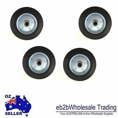 AU16.49 • Buy 4 PCS SET Solid RUBBER WHEEL 3 INCHES WHEELS 3  75MM INNER BEARING 8MM