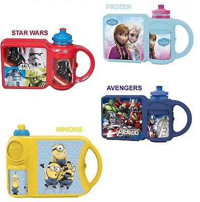 Combo Set Kids School Lunch Box & Sports Water Bottle Select Your Character New • 7.41£