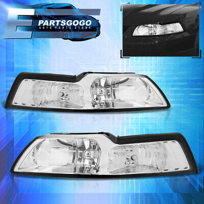 $66.99 • Buy For 99-04 Mustang Gt Crystal Chrome Headlights Lamps + Corner Turn Signal Clear