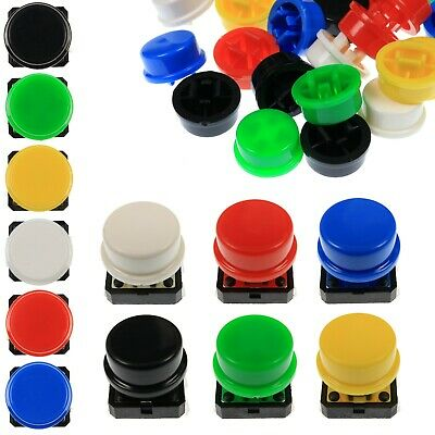 A24 Tactile Cap & Switch - Momentary Push Button - Round Flat Keycap - 6 Colours • 2.99£