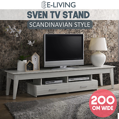 AU199 • Buy Wooden TV Cabinet Stand 200cm Entertainment Unit W/ 2 Drawers White Washed