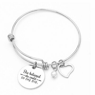 Charm Stainless Steel Silver Heart Women Bracelet Adjustable Bangle Jewelry Gift • 8.15$