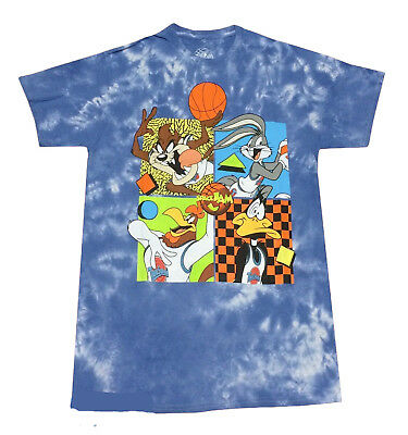dd96cdbe79b6a8 Looney Tunes Space Jam Tune Squad T-shirt Tie Dye Blue Mens Retro Movie Tee