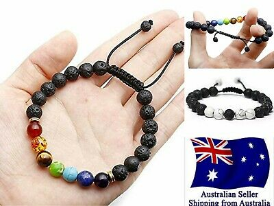 AU7.95 • Buy Chakra Bracelet Healing Lava Stone 7 Bead Oil Diffuser Adjustable Woven Rope 1pc