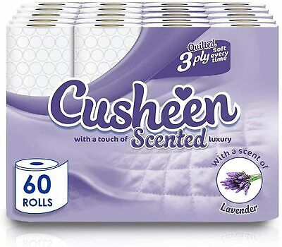 60 Rolls Cusheen Quilted Lavender 3 Ply Toilet Paper • 19.99£