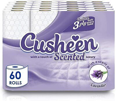 60 Rolls Cusheen Quilted Lavender Fragrance 3 Ply Toilet Paper • 19.99£